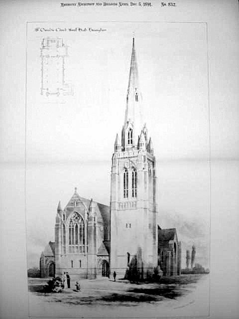 Sr Oswald's church showing the intended tower. Image from St Croix Architecture website where the print may be bought.