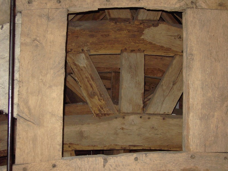 Medieval roof timbers at the west end of the church