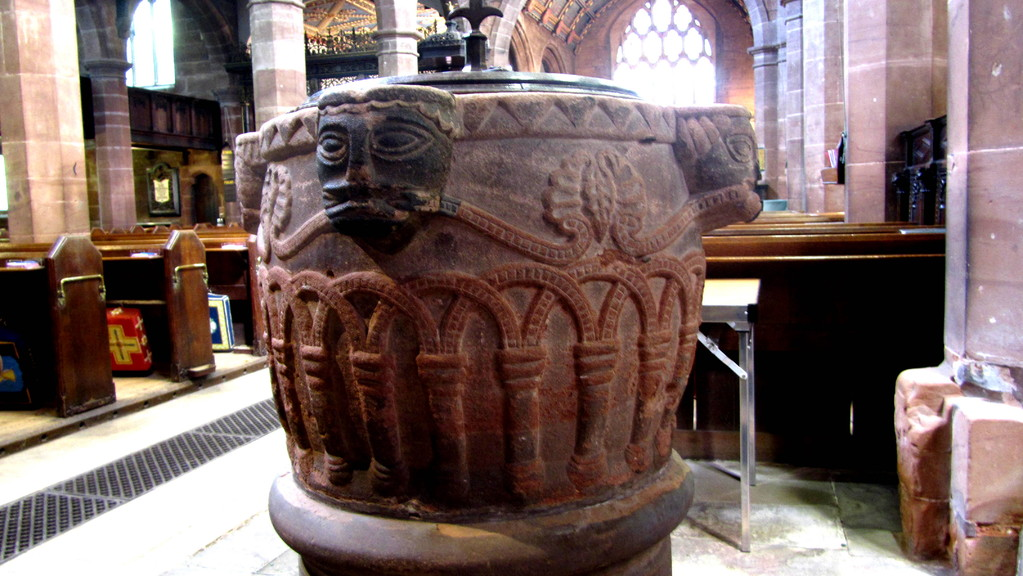 The Norman font from Over Whitacre chucrh