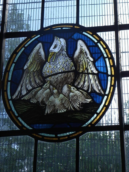 Victorian stained glass in the medieval tradition in the north aisle. The pelican was believed to peck its own breast so its young could feed off its blood. It is a symbol of Christ's sacrifice. The Victorians were hearking back to medieva