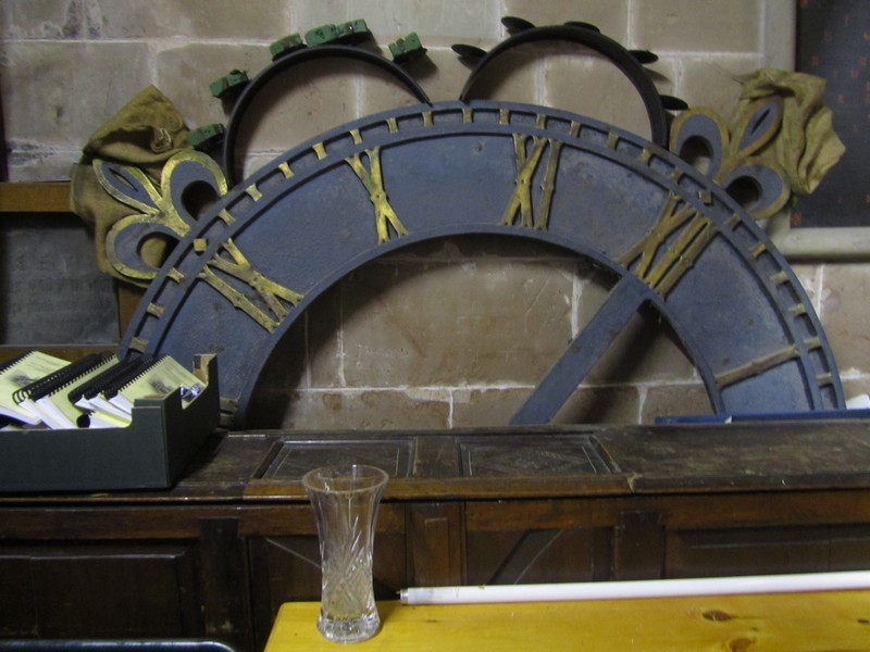 The clock face is currently stored in the tower. The fitting of a new bell frame has taken up the space where the mechanism used to be.
