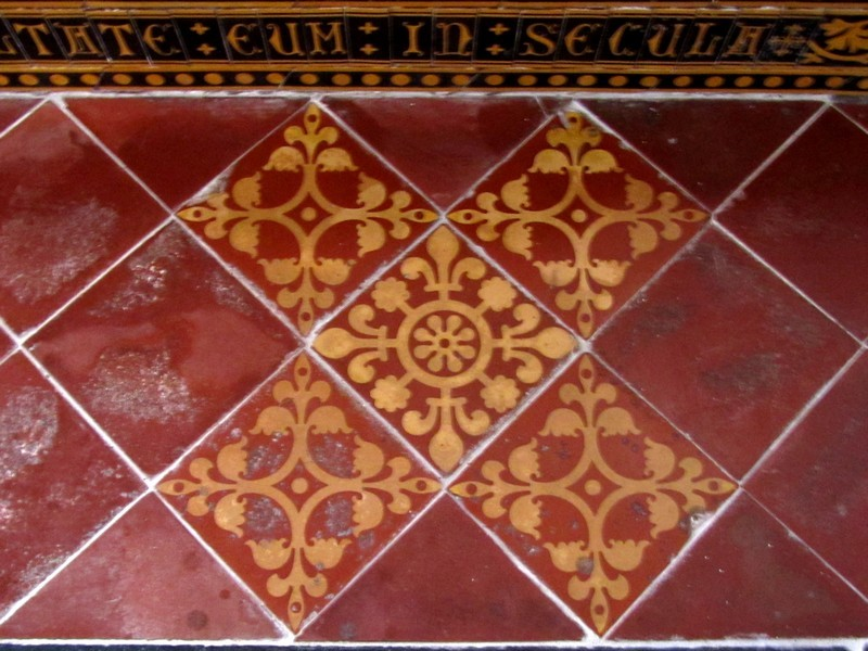 Victorian encaustic tiles in the chancel