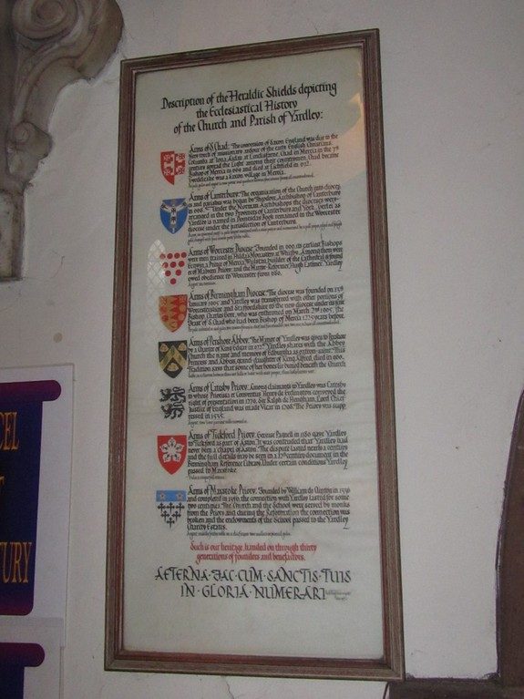 Explanation of the heraldry in the chancel ceiling; the roof was receiled in 1926.