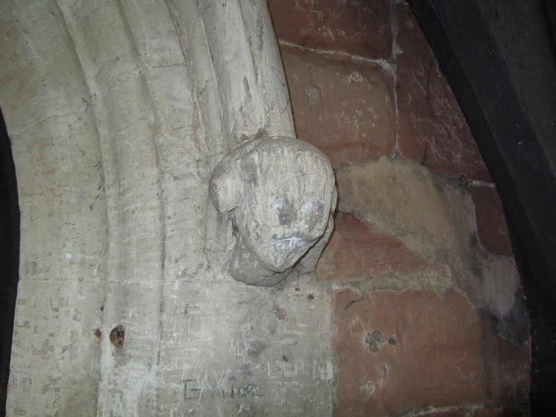 Head stop inside the south porch