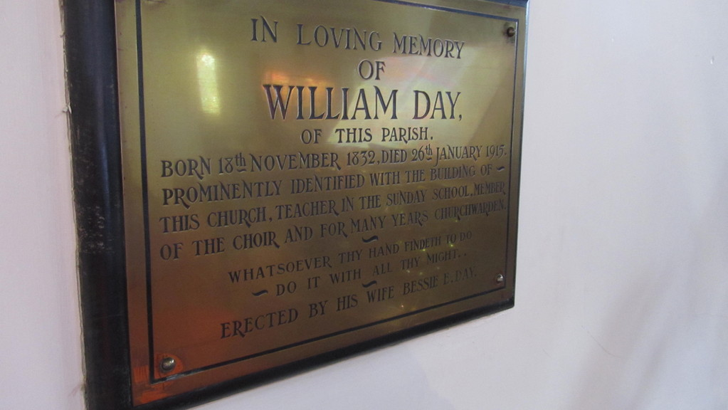 Memorial of William Day, died aged 83 in 1915, one of the prime movers for the building of the church, landlord of the Royal Oak at Jack o' Watton