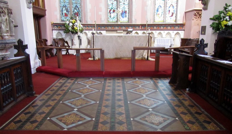 19th-century encaustic tiles in the chancel