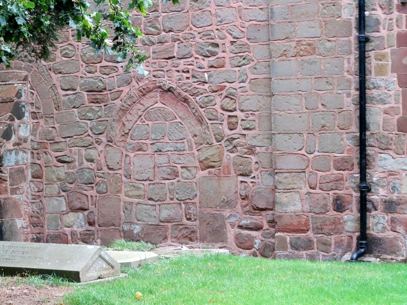 North wall with blocked 12th-century doorway