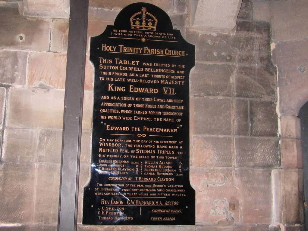 Plaque commemorating a peal rung on the death of King Edward VII