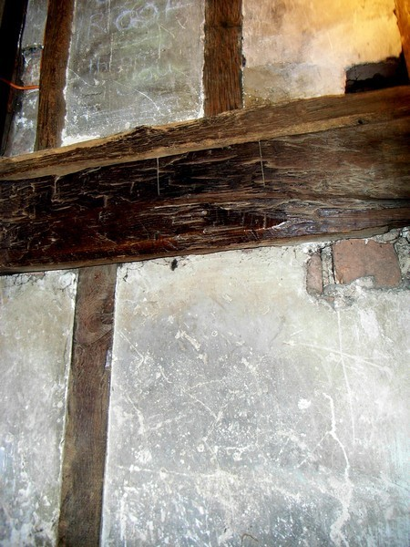Reused medieval wood on the 18th-century staircase to the tower