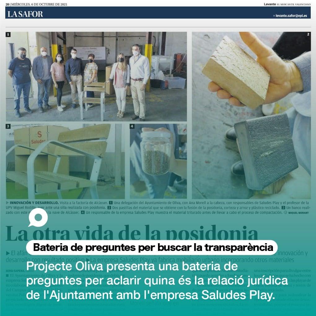 Projecte Oliva formula al govern una bateria de preguntes sobre el presumpte conveni de l'Ajuntament i l'empresa Saludes Play