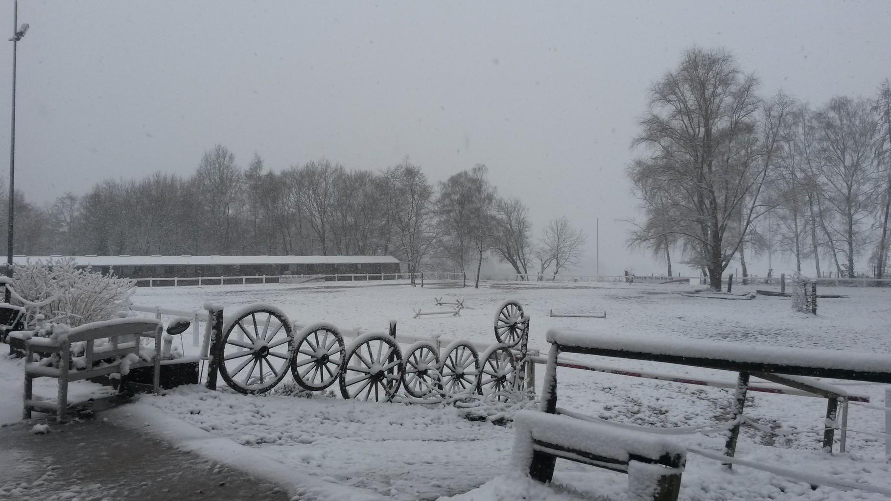 Blick auf den Springplatz im Winter