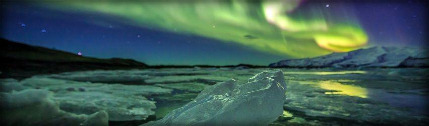 Aurora borealis, Nordlichter, Polarlicht, Eis, Gletscher, Nacht, Nachthimmel, gelb grün