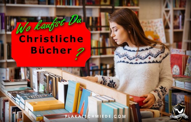 christliche Bücher, junge Frau in Buchhandlung