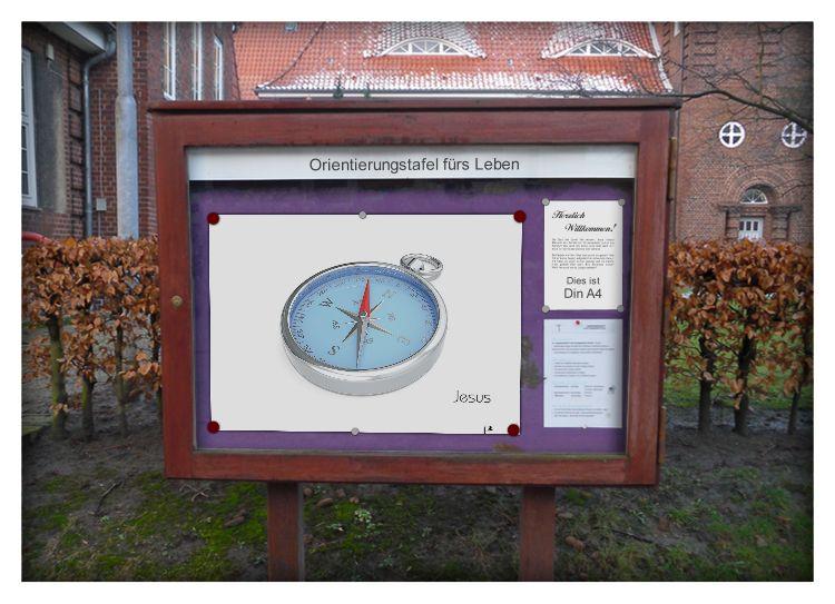 Schaukasten Plakat Jesus Kompass Orientierung
