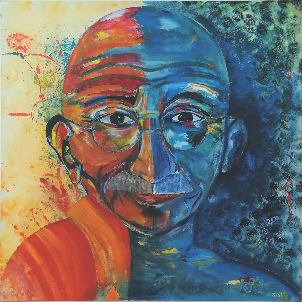 Ghandi - the grand master of peace, 2019, acrylic on canvas, 100x100 cm, alexandra benesch
