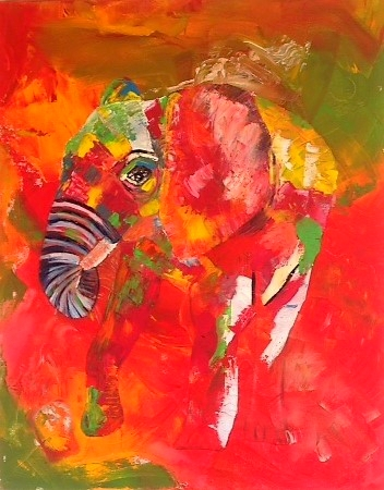 """little elefant"", 2015,  acrylic on canvas, 100x80 cm, alexandra benesch"