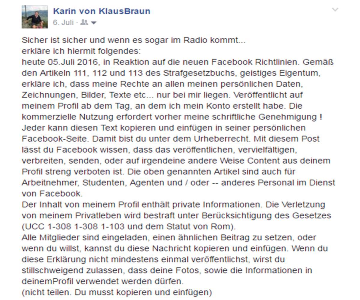 Der Widerspruch gegen die Facebook-AGBs...