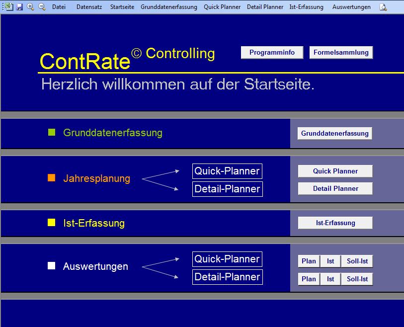 Einfach und Übersichtlich - Das ContRate-Startmenü