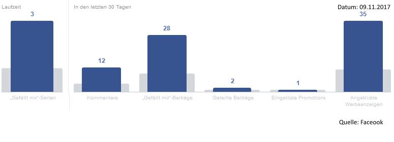 Monatliche Aktivität eines deutschen Facebook-Nutzers mit Bioaffinität