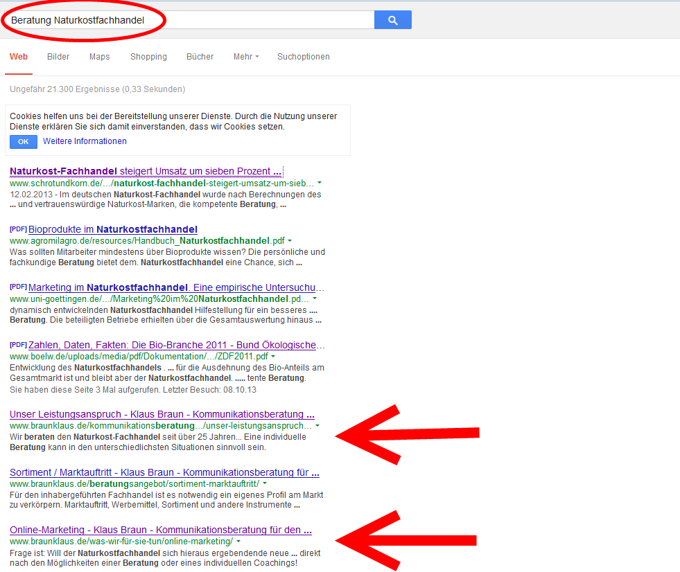 """Suche im zweiten Fall, als """"Beratungsunternehmen"""" ist unsere Webseite ist auf Platz fünf..."""