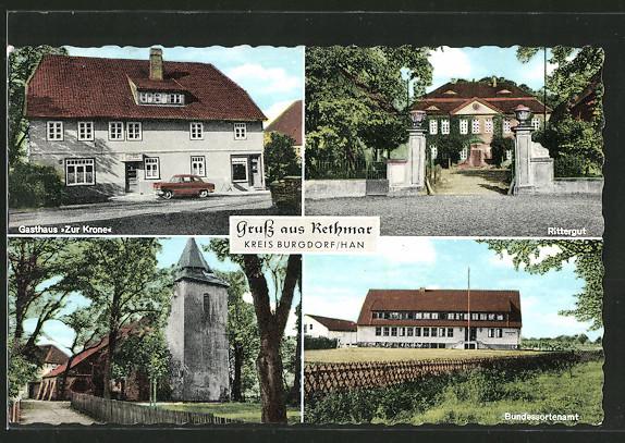 Das Bundessortenamt in Rethmar rechts unten auf der historischen Postkarte