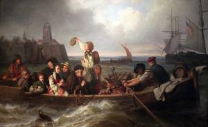 Deutsche Auswanderer auf dem Weg nach Nordamerika.