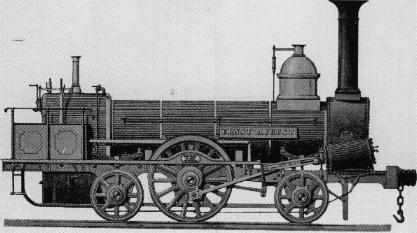 """Die Lok """"Ernst August"""" wurde von der hannoverschen Maschinenfabrik Egestorff (später Hanomag) gebaut und fuhr in den 1840er Jahren zwischen Hildesheim und Celle."""
