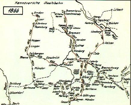 Streckennetz der Eisenbahn im Königreich Hannover