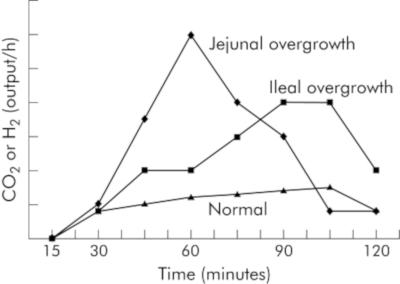 Graph des Anstiegs im Glucose-Atemgastest zur Feststellung einer Dünndarmfehlbesiedlung