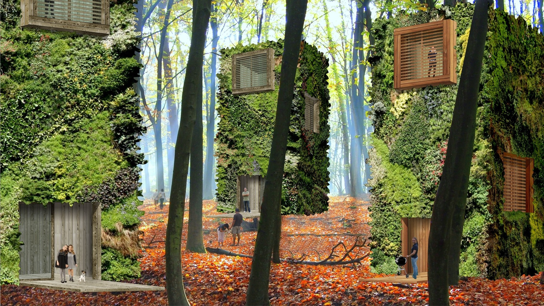 Visualisation OAS1S™: Highly liveable living area where you live inside and in between trees.
