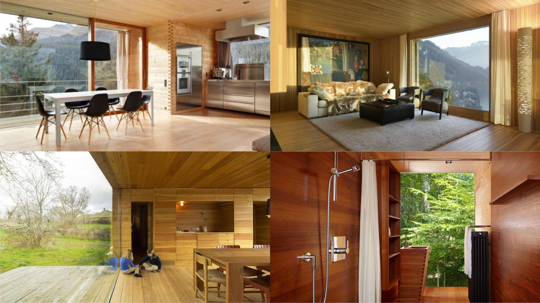 Visualisation OAS1S™: Rustic wooden cabin-like interiors with large windows towards the surroundings.