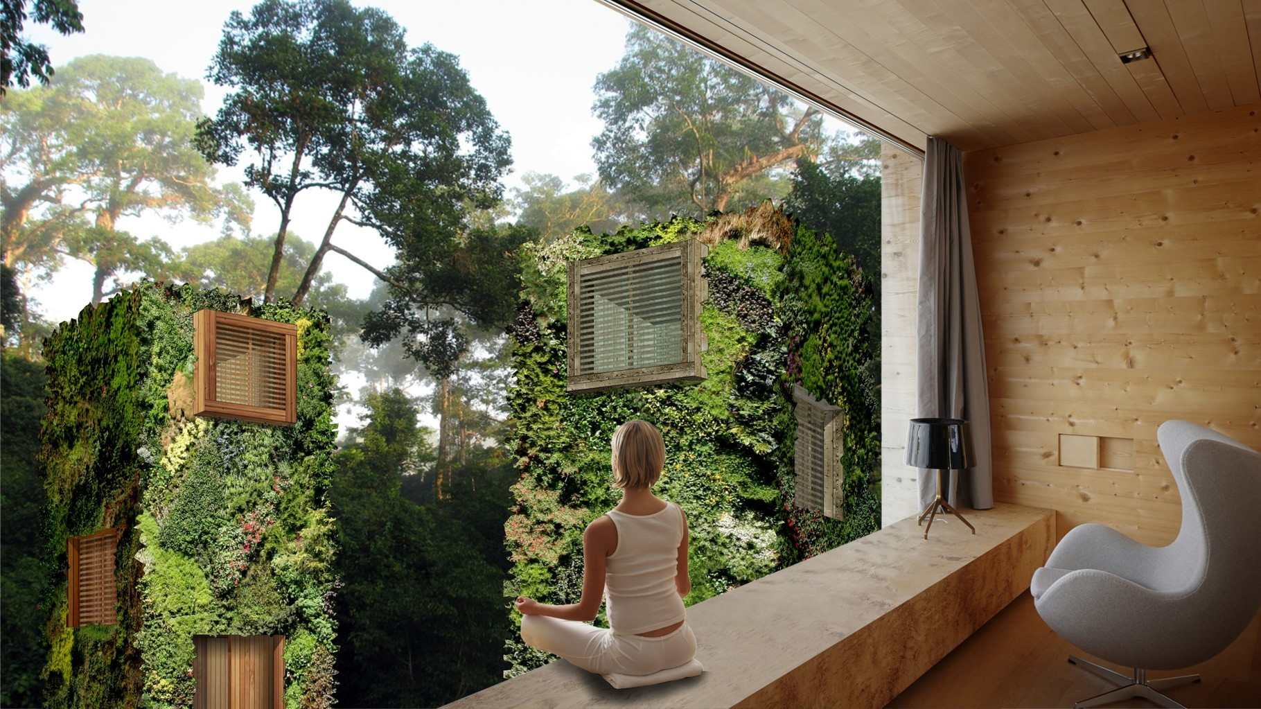 Visual OAS1S™: Rustic wooden interiors, with large windows and loggias or (French) balconies.