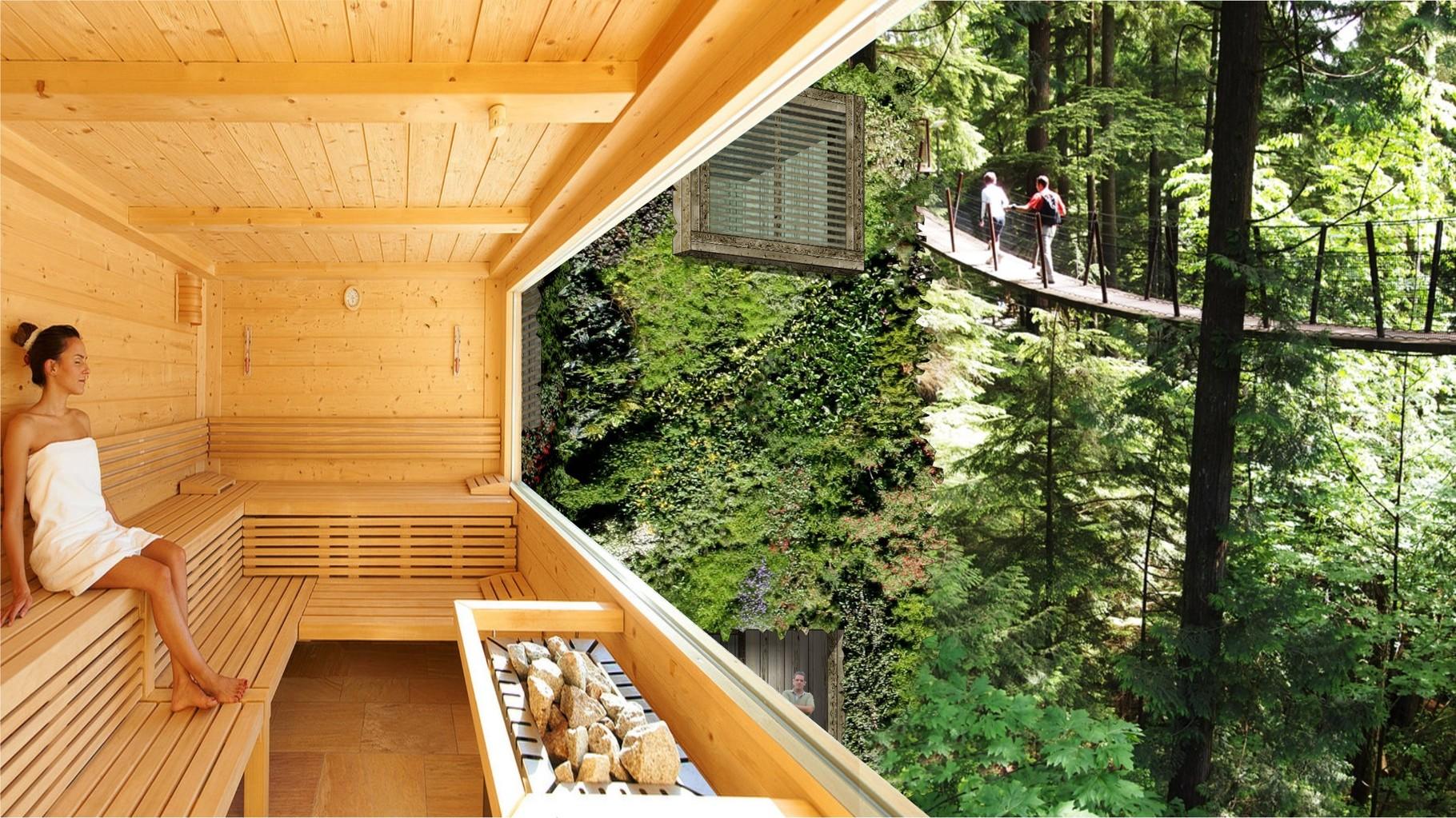 Visual OAS1S™: Enjoy leisure activities as a treehouse sauna or a treetop trekking.