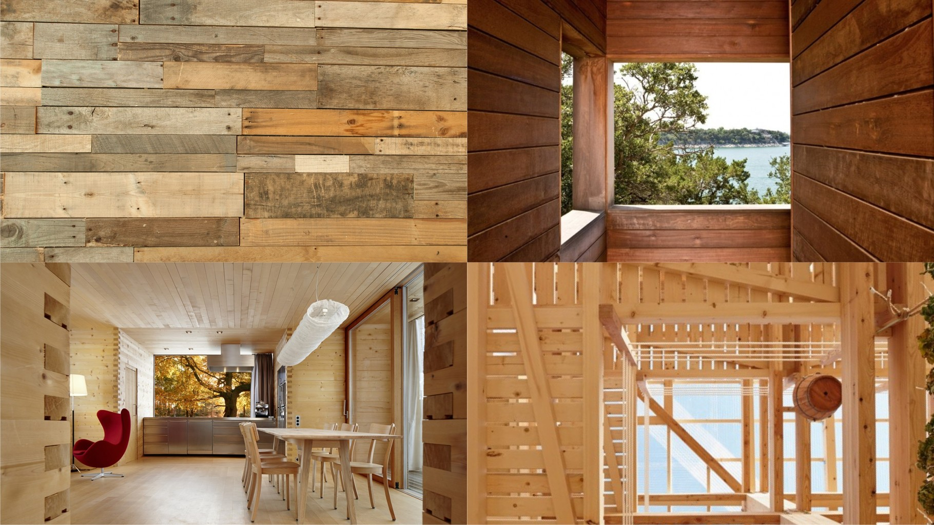 References OAS1S™: Rustic cabin-like interiors of recycled wood, with high staircase skylights.