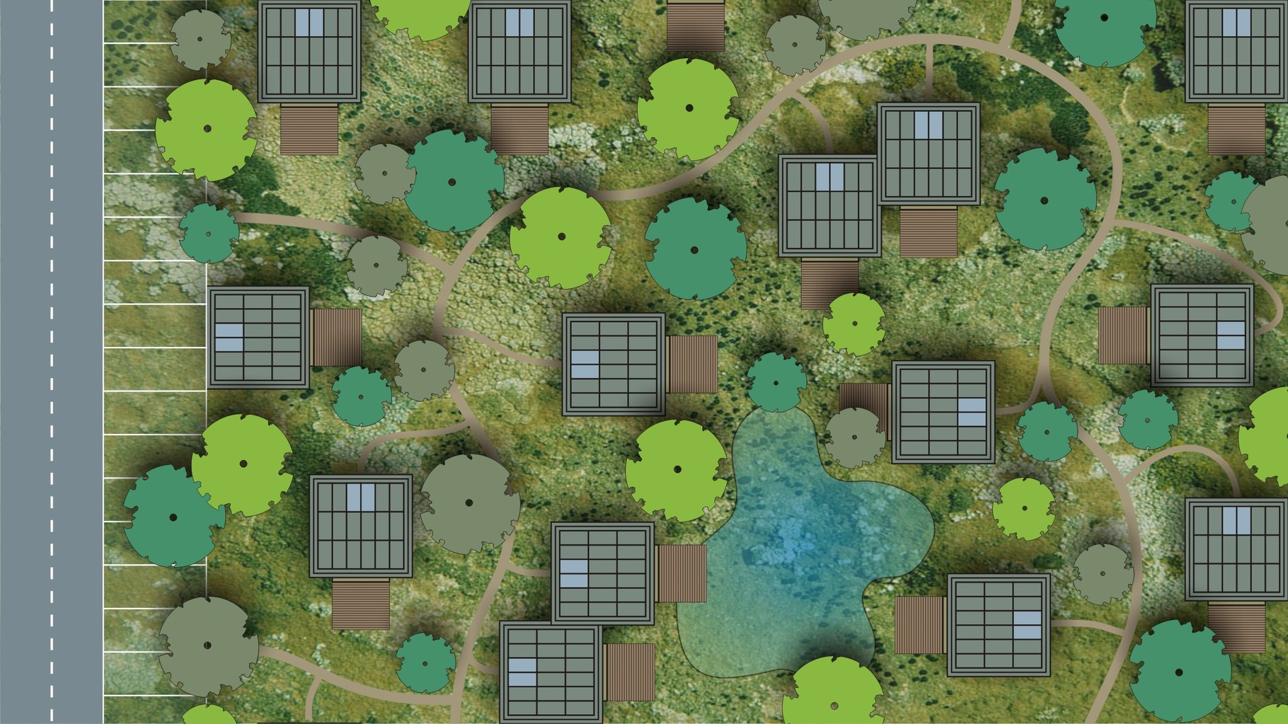 Visualisation OAS1S™: A true fusion of forest and city, with parking at the area fringes.