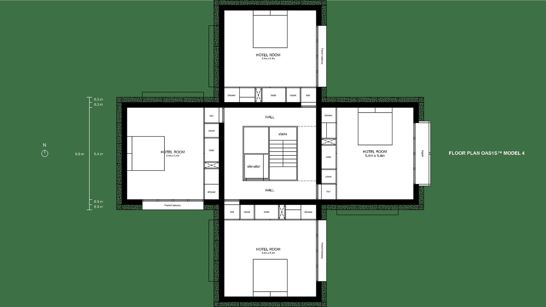 Visual OAS1S™: Model 4 (clustered) for hotel, leisure or office purposes.
