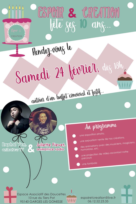 AFFICHE OFFICIELLE 10 ANS d'Espoir & Création !