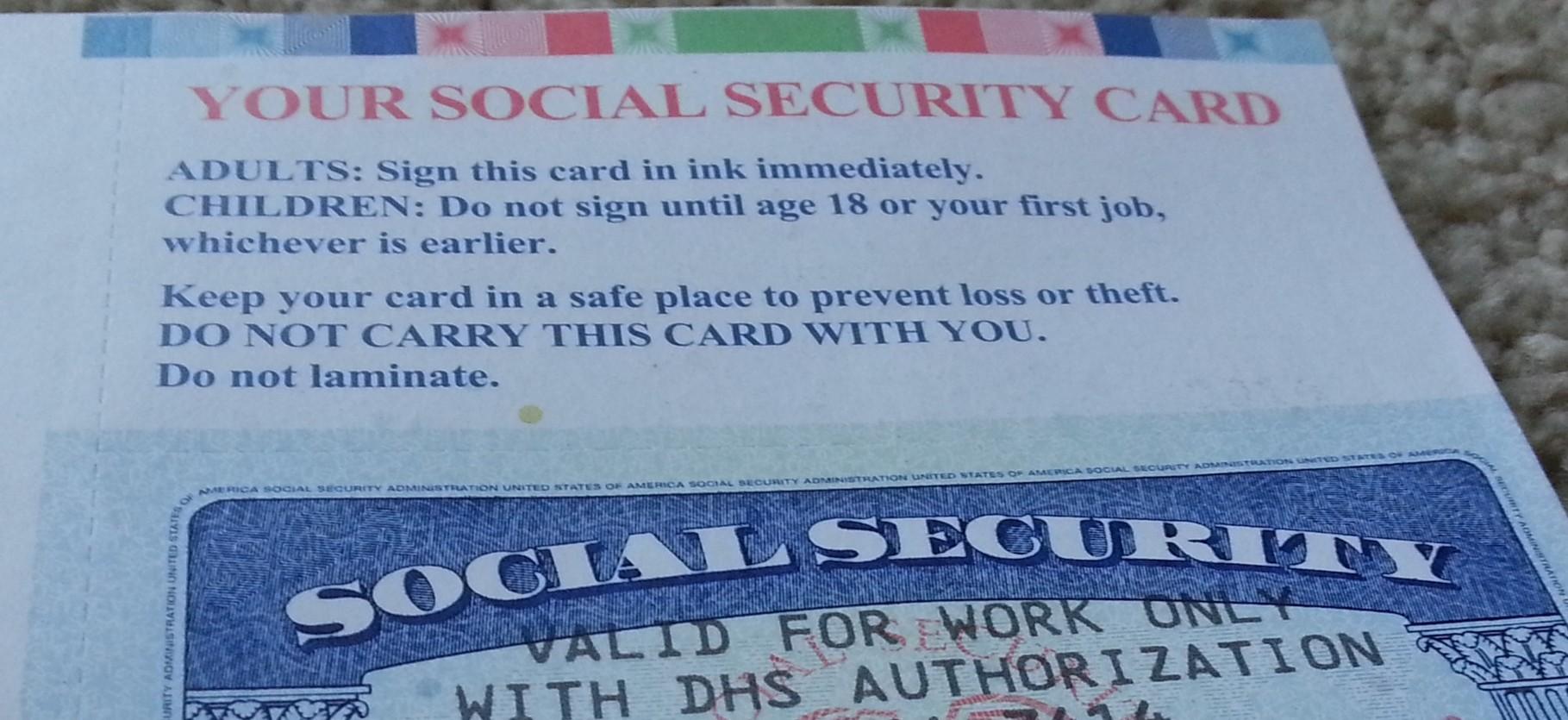 Social Security Card ist da!