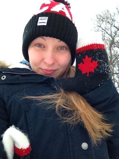 gleich neue Mütze und Canada-Handschuhe ausprobiert