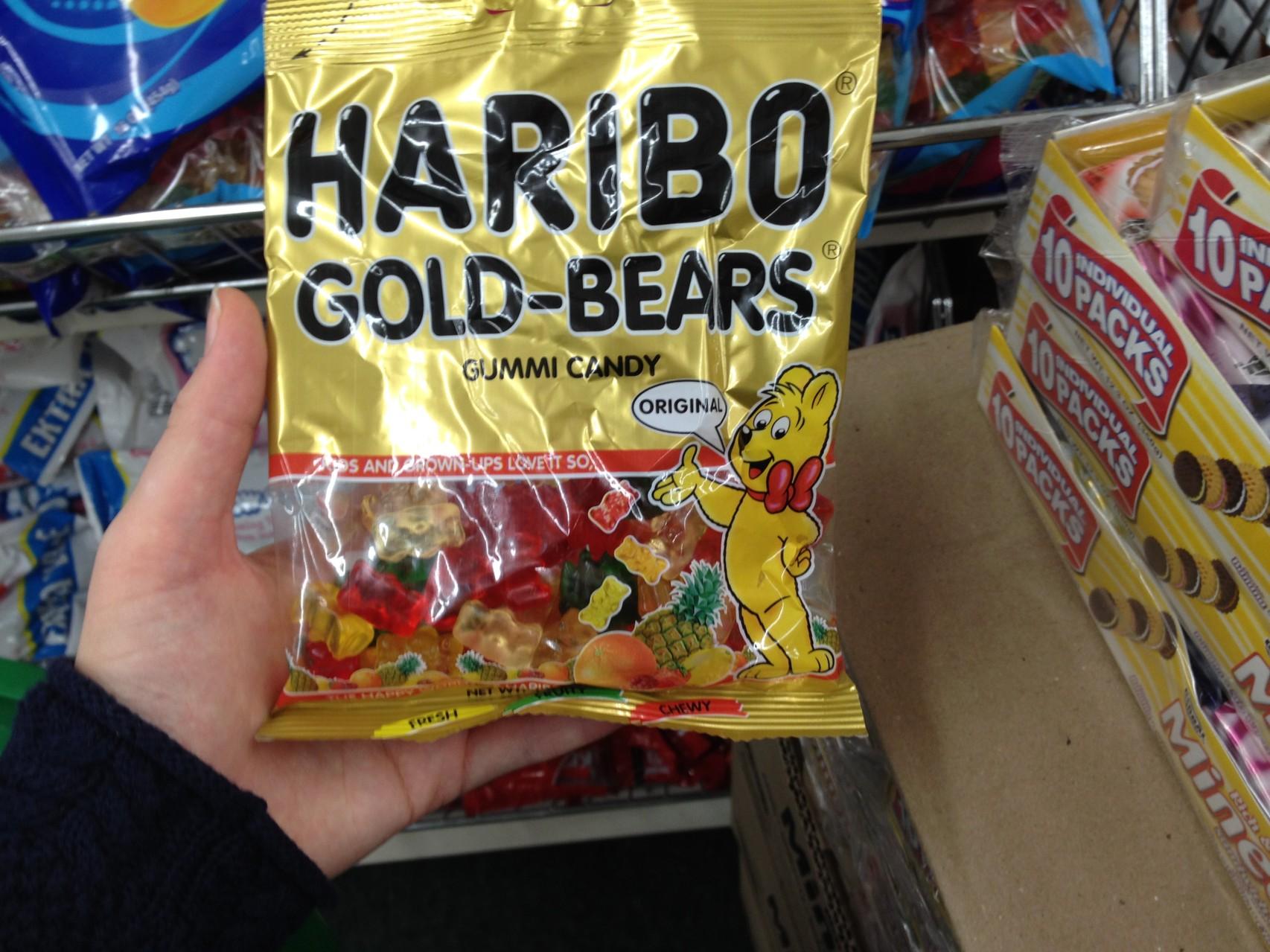 Haribo gefunden...nur die Farbe der Gummibärchen sieht ungesund aus