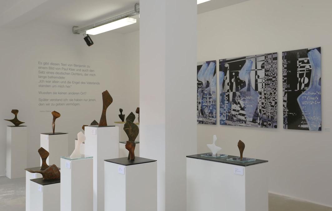 """Heidrun Feistner und Jean Molitor: Vita umbrae / für Georg Heym / Fotografik auf Aluminium (Triptychon) nach der Skulptur """"Der Expressionist"""""""