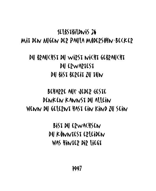 Heidrun Feistner: Selbstbildnis 36, für Paula Modersohn-Becker