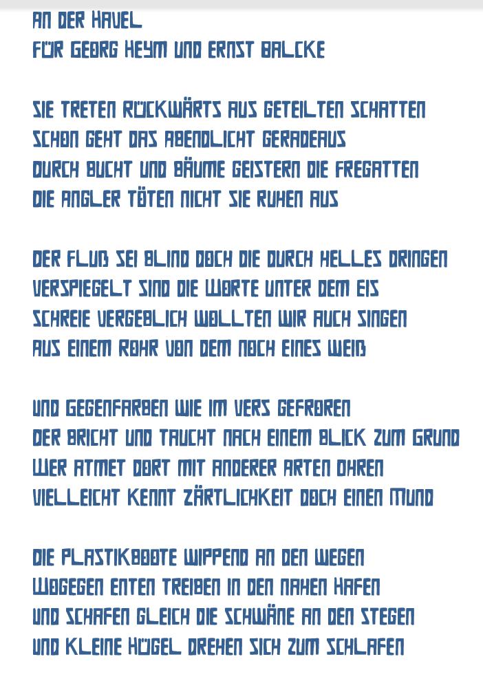 Heidrun Feistner: An der Havel / Für Georg Heym und Ernst Balcke
