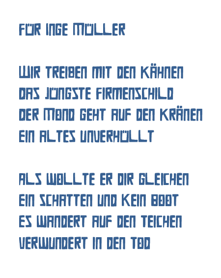 Heidrun Feistner: Für Inge Müller