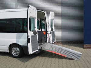 Ford Transit with hydraulic lowering rear suspension.