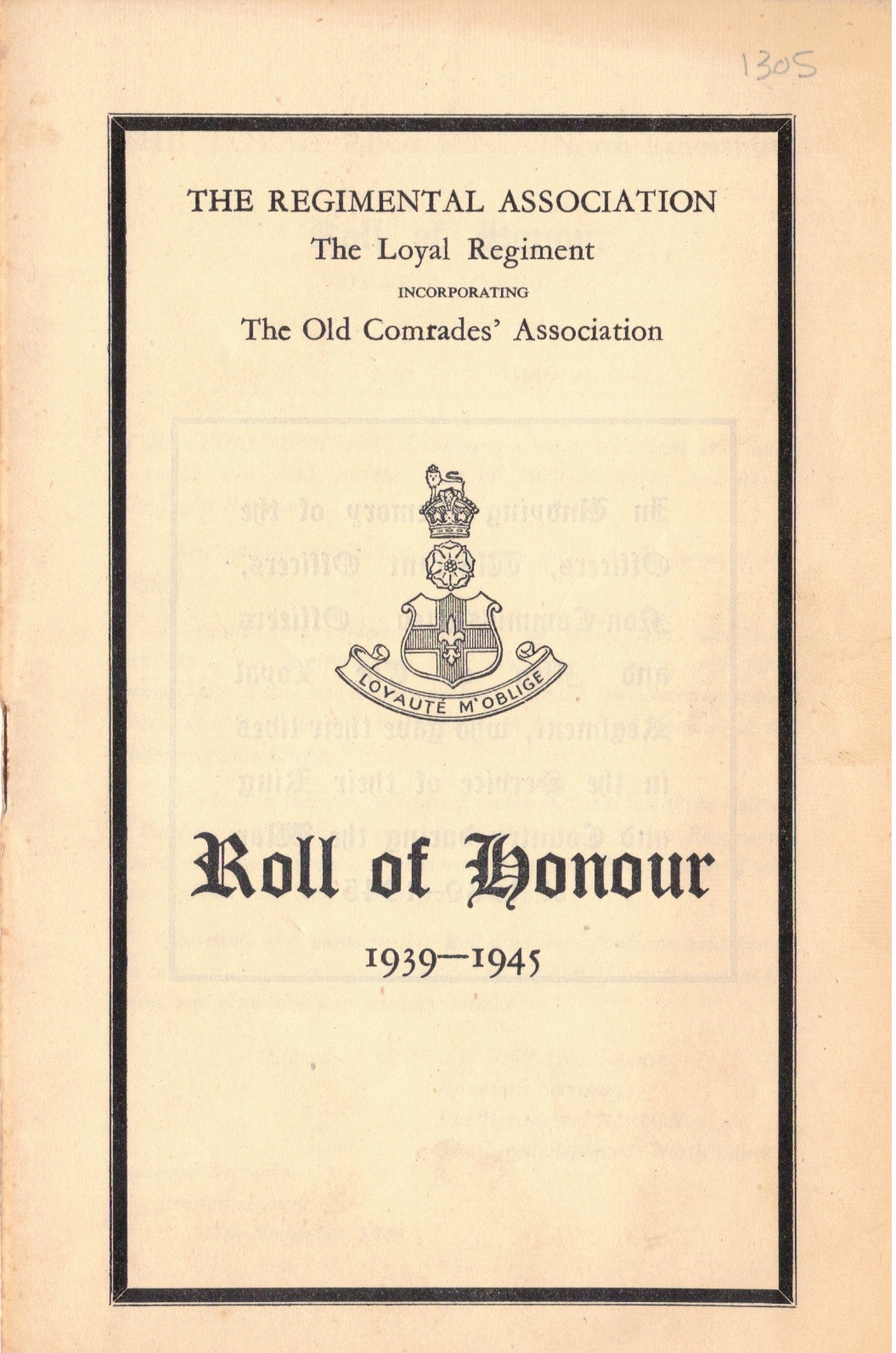 Roll of Honour, The Loyal Regiment, 1948 (collection P. Reinders)