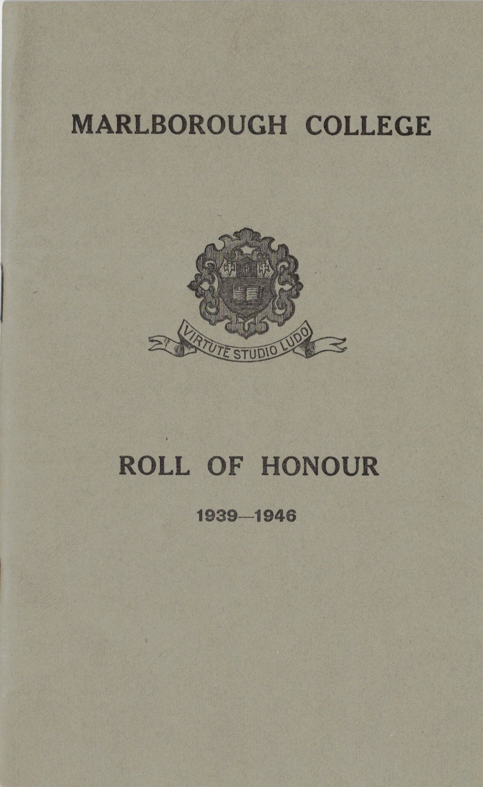 Roll of Honour, Marlborough College, 1947 including Arnhem casualties (collection P. Reinders)
