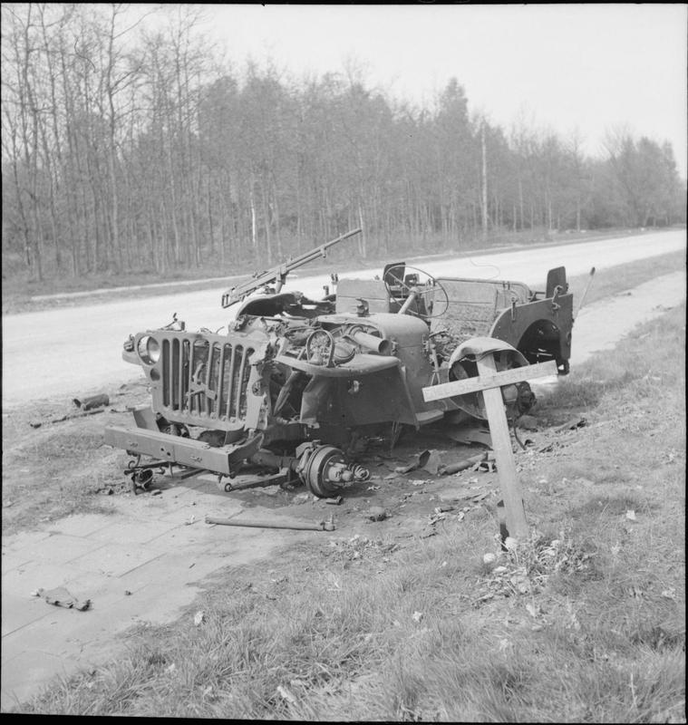 Amsterdamseweg, the wreckage of a Recce Squadron jeep.