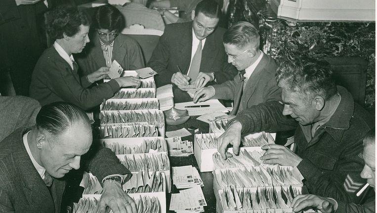 Na de bevrijding: zoeken in kaartenbakken naar gegevens over vermisten. © Nederlandse Rode Kruis, Oorlogsarchief