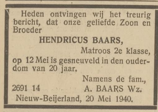 Nieuwsblad voor de Hoeksche Waard en Ijsselmonde 21-5-1940